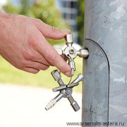 Ключ для электрошкафов TwinKey с битой и переходником KNIPEX 00 11 01