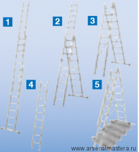 Универсальная лестница - трансформер (приставная, раздвижная, стремянка с выдвижной секцией) Krause STABILO плюс с установкой на лестничных маршах, 3х10 перекладин