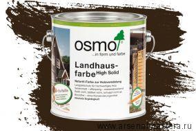 Непрозрачная краска для наружных работ Osmo Landhausfarbe 2607 темно-коричневая 2,5 л