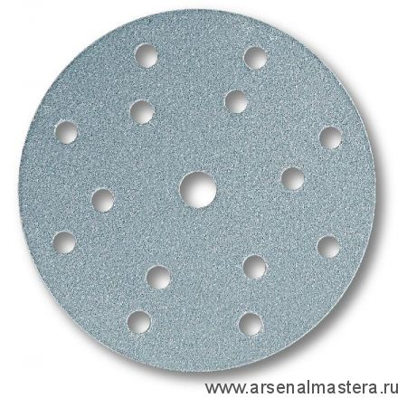 Шлифовальный круг на бумажной основе липучка Mirka Q.SILVER 150мм 15 отверстий P500 в комплекте 100шт