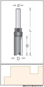 Концевая цилиндрическая пазовая фреза DIMAR 19.1x50.8x92x12 для работы по шаблону 1072049